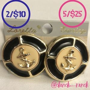 Loretta Large Round Anchor Clip On Earrings NOC